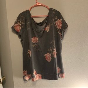 Floral sweatshirt material wise neck tee